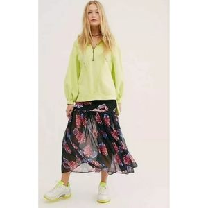 NEW Free People Sheer Ankle Maxi Skirt sz Large